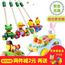 婴儿木质童宝宝学步车手推车玩具单杆小鸭子推推乐1-2岁半男女孩
