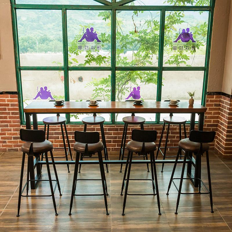 Американский дерево домой бар табуретка столы и стулья магазин бар кофе зал молочный чай магазин ходули табуретка столы и стулья сочетание опираться на стена