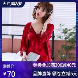 新红色睡衣睡袍女春秋冰丝绸蕾丝吊带性感睡裙两件套晨袍家居服夏