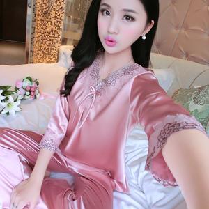 春秋季丝绸睡衣套装冰丝质长袖女装薄款性感七分袖加大码家居服