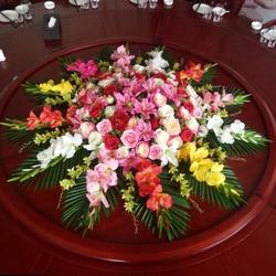 酒店餐桌花摆花仿真花圆桌转盘桌面摆花餐厅桌面装饰花艺摆件假花