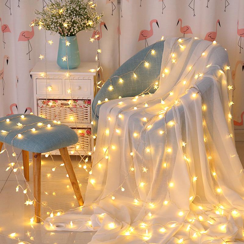 LED小彩灯闪灯串灯满天星挂灯女卧室房间装饰品网红灯饰布置星星