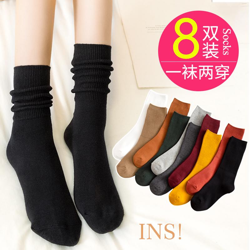 黑色袜子女中筒袜ins潮堆堆袜女可爱日系长袜长筒袜夏季薄款春秋