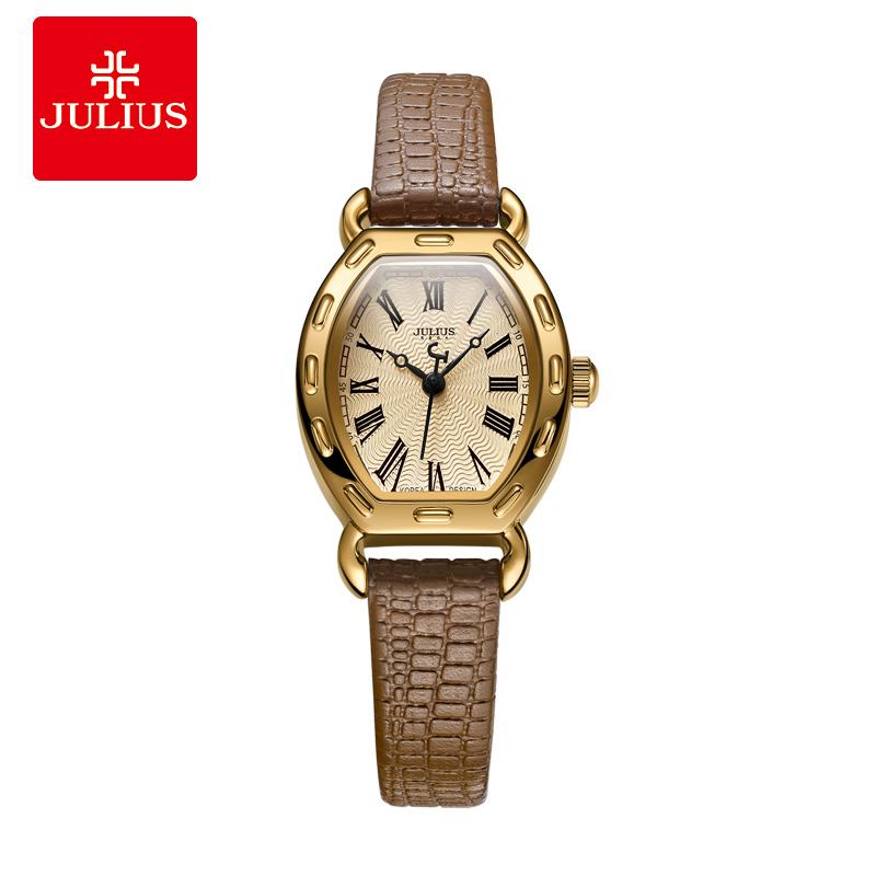 julius聚利時小表盤羅馬刻度皮帶女士手錶時尚酒桶形手錶女JA-544