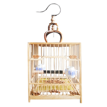 Boutique carving Square birdcage thrush cage old bamboo square cage Bamboo birdcage wax beak birdcage bamboo Big Bird bamboo cage