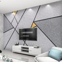 电视背景墙壁纸无缝墙纸定制壁画北欧简约个性抽象几何线条方块