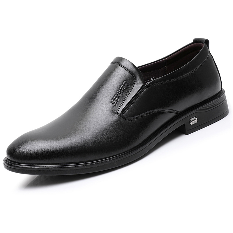 Mens formal leather shoes soft leather pointed business mens shoes fashion trend foot set low top middle heel work single shoes luxury
