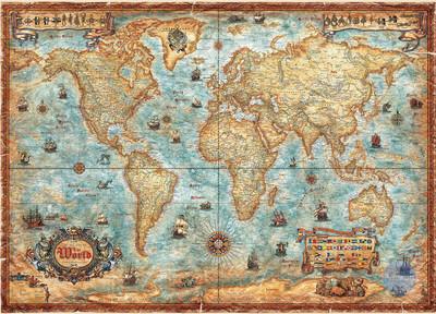 【现货】HEYE 世界地图 复古版 2000 3000片 德国进口拼图 雷诺瓦