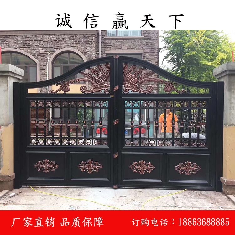 别墅铝艺大门电动铝合金院子门花园门围墙铸铝户外对开庭院大门