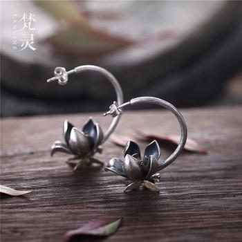 纯银饰品原创设计水莲天摇曳耳环