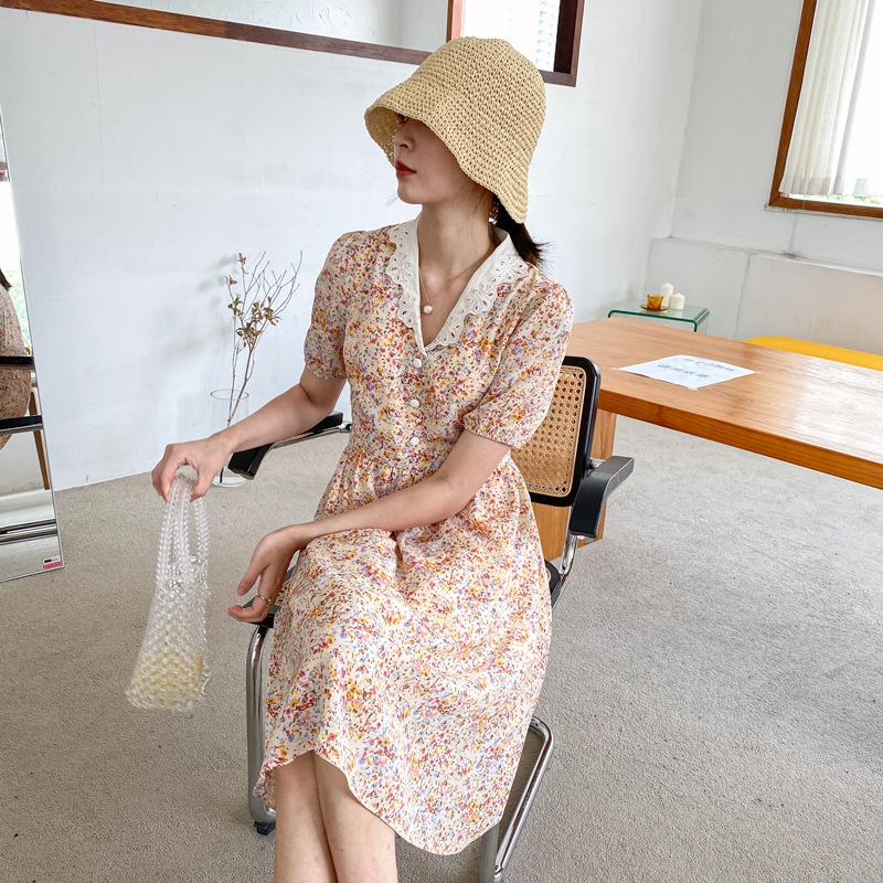 ワンピース2020新型夏の花柄ワンピース女性のスリムなスカートの中には、甘美なロリータA字のスカートがあります。