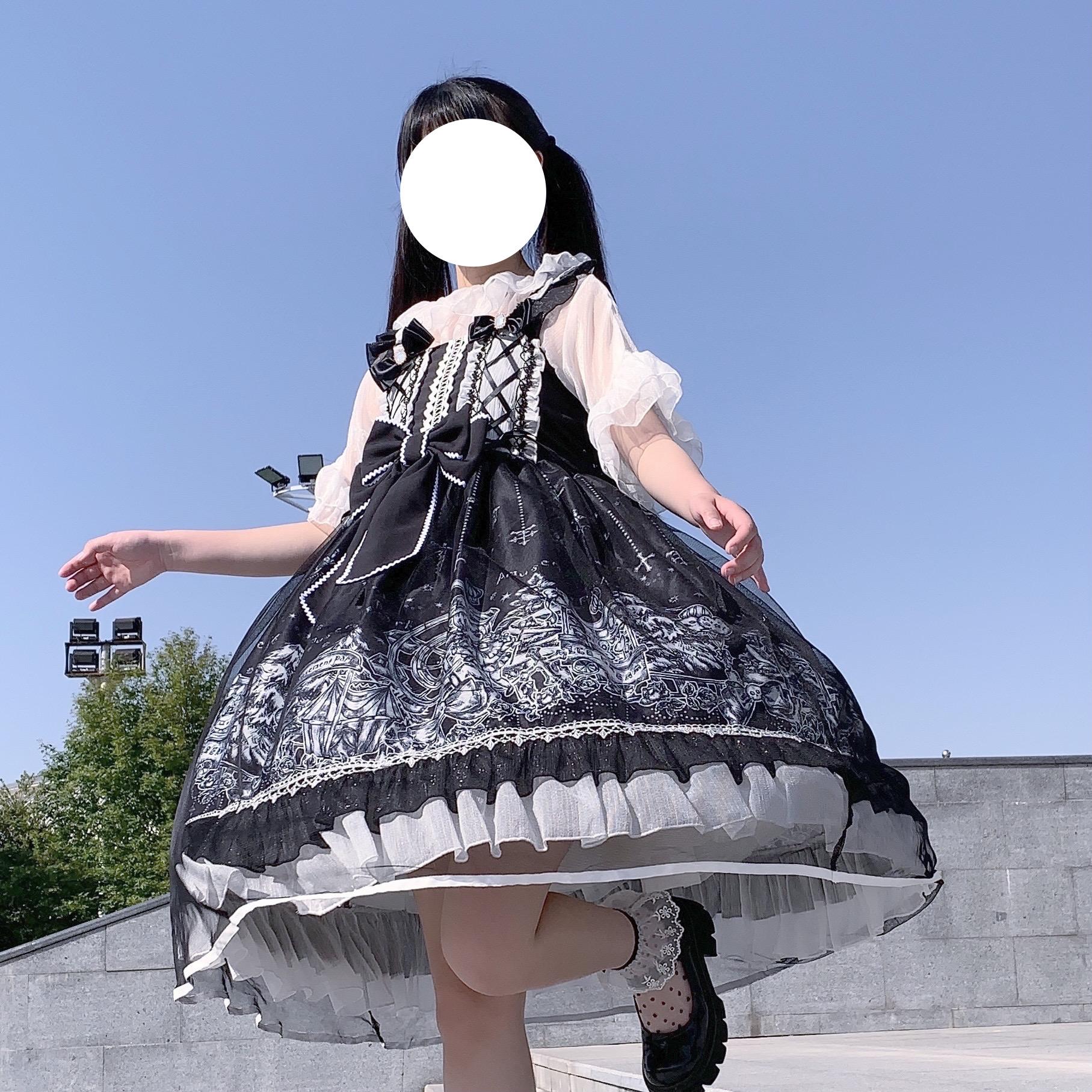 夏日常lolit童洋装宫廷风公主黑色洛丽塔正版女裙a内搭裙子全套女