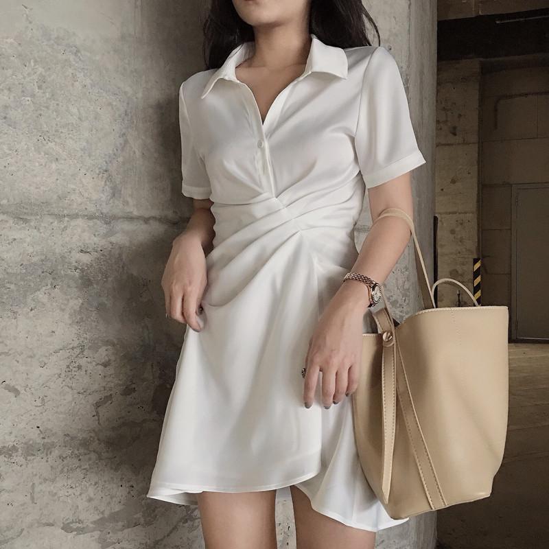 twins150小个子白色连衣裙2019新款夏流行裙子智熏裙法式桔梗裙