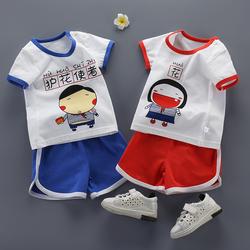 童装批发厂家直销地摊 0-5岁男女儿童夏款外贸纯棉短袖运动2件套
