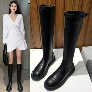 长筒靴女2020新款秋季靴子不过膝长靴英伦风马丁靴百搭高筒骑士靴