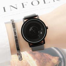 Черная технология Корейская версия простой тенденции моды концепции творческой личности Ранние школы мужские и женские студенты водонепроницаемые пары часы