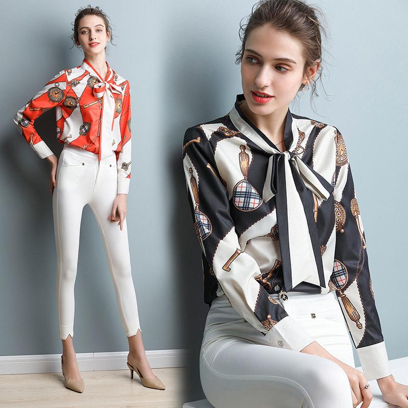 实拍现货860-2019春装新款时尚衬气质衬衣宽松系带印花女上衣