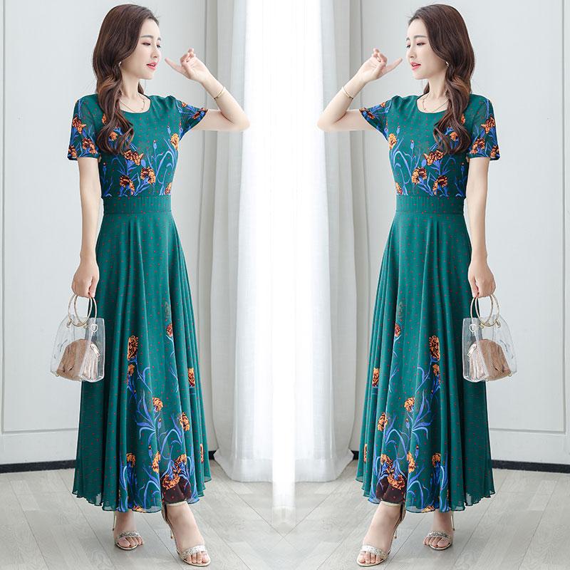 2020夏季新款定位印花连衣裙女雪纺长款收腰显瘦气质超长裙到脚踝