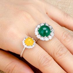 心形925纯银戒托爱心款女戒托未镶嵌翡翠蜜蜡绿松石圆形戒指空托