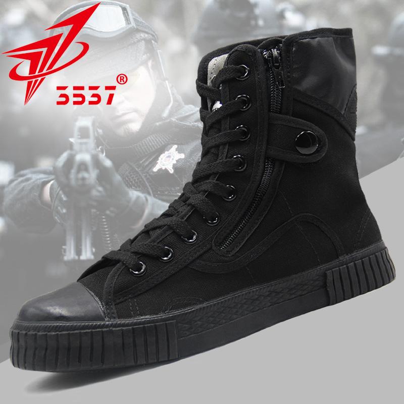 3537正品军鞋男解放鞋黑色高帮作训鞋透气帆布鞋耐磨胶鞋特种兵夏