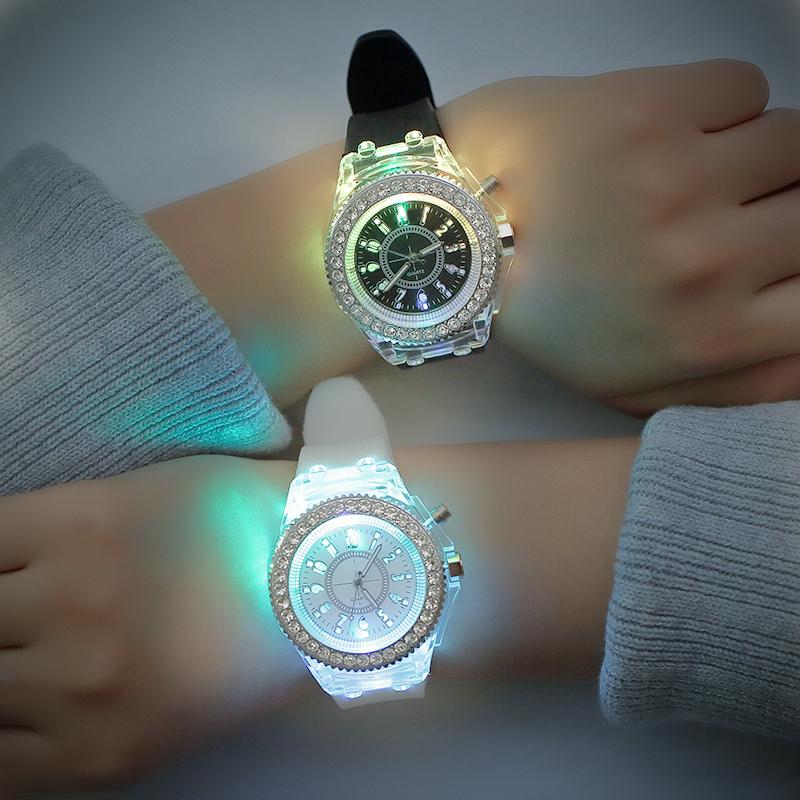 别样韩国夜光发光手表个性原宿韩版时尚潮男女中学生荧光情侣手表