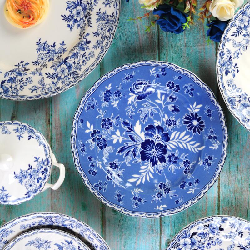 出口英国德文郡釉中彩陶瓷欧式青花西餐具牛排汤菜盘子家用面碗杯