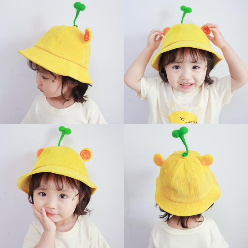 3-4岁宝宝帽子太阳夏季薄款潮儿童遮阳防晒男童女童小黄帽渔夫帽