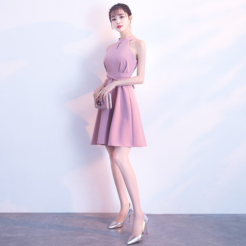 宴会晚礼服2018新款挂脖短款优雅名媛聚会洋装小礼服连衣裙女显瘦