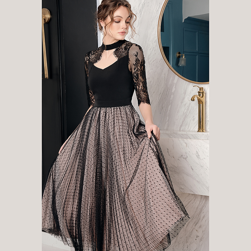 绝色中袖蕾丝连衣裙欧洲站2020新款女装欧美风知性优雅长裙子夏季