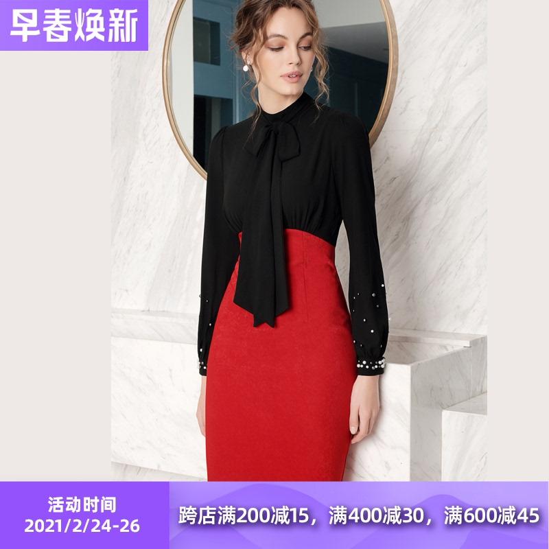 欧美时尚轻熟风高级感气场强大修身包臀连衣裙春款女装2021年新款
