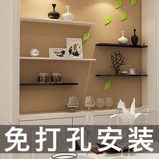 墙上置物架一字隔板免打孔客厅厨房卧室创意壁挂墙面墙壁书架搁板品牌