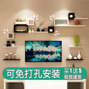 领5元券购买墙上置物架客厅影视电视背景墙创意格子房间墙面免打孔壁挂柜装饰