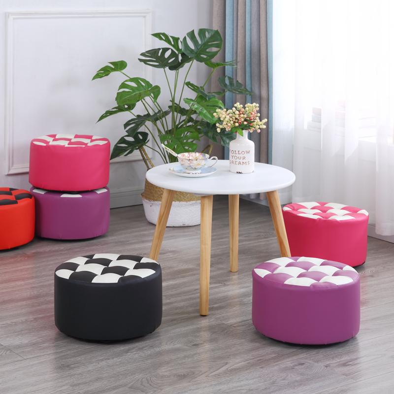 创意皮凳子圆凳客厅沙发凳换鞋凳时尚茶几凳矮凳家用小板凳皮墩子10-20新券