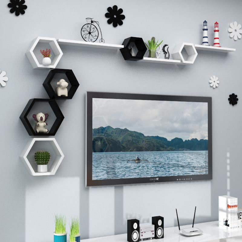 墙上客厅电视背景墙面隔板置物架