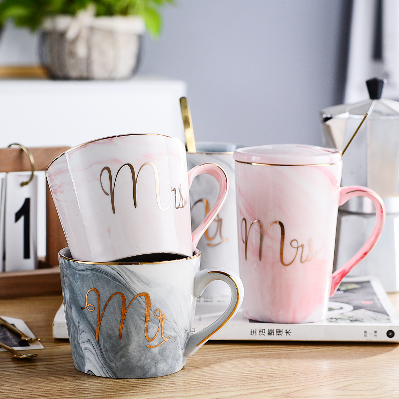 Mug Cup household Nordic ins ceramic cup with spoon cover milk coffee tea cup large capacity set gift box