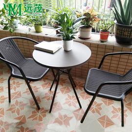 阳台小桌椅茶几三件套仿藤椅户外休闲椅一桌两椅铁艺小圆桌椅组合图片