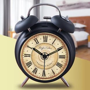 闹钟简约北欧风格 学生卧室复古怀旧闹表金属摆件 创意床头欧式