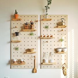 洞洞板定制木质北欧层板收纳厨房实木装饰墙壁墙上壁挂隔板置物架图片