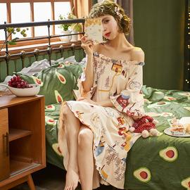 南极人大码纯棉睡裙女夏季薄款短袖胖mm宽松孕妇全春秋睡衣家居服