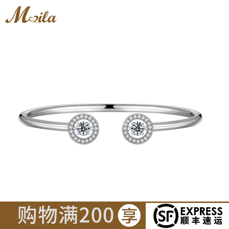 Minas dancing silver bracelet womens pure silver synthetic cubic zirconia Korean version simple personality bracelet for girlfriend