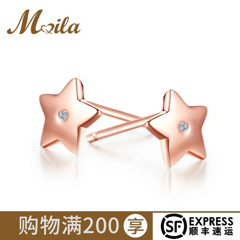 迈娜皇冠钻石耳钉女正品925纯银耳环耳坠花朵星星蝴蝶结真钻耳饰