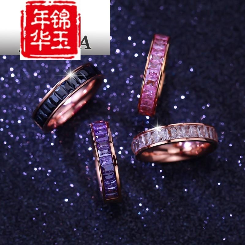 陌尚金戒指情侣指环玫瑰日韩饰品女钛金版镀戒指钢彩18K礼物装饰