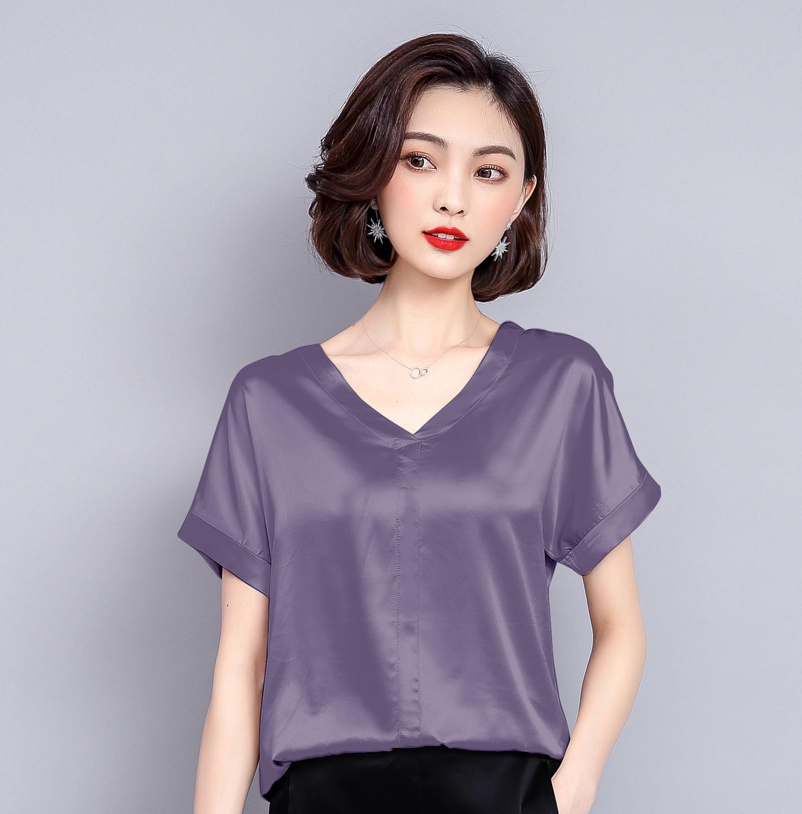 秋水哥弟正品牌2018新款女装夏季大码真丝短袖100%桑蚕丝T恤上衣