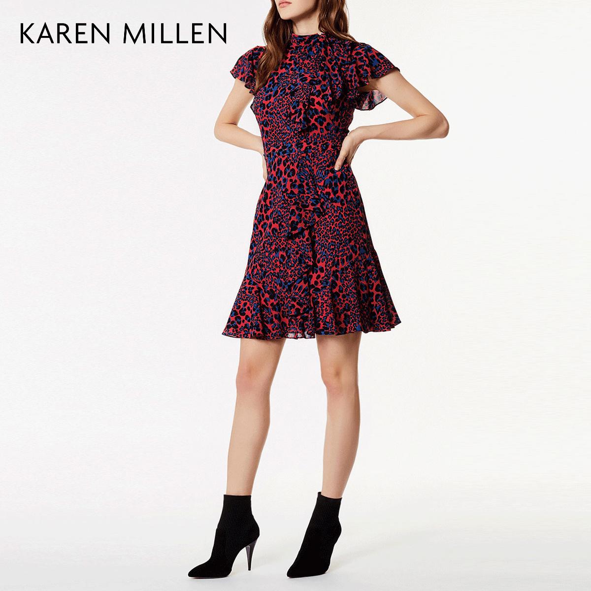 KAREN MILLEN凯伦米莲英伦女装2018春荷叶袖豹纹连衣裙KM51826710