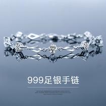 999纯银手链女手镯首饰ins小众设计学生手饰生日礼物送女友手环