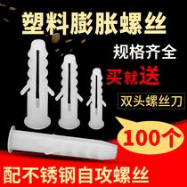 6mm8mm10mm塑料膨脹管小黃魚膨脹螺絲膠塞不銹鋼自攻螺絲木螺釘