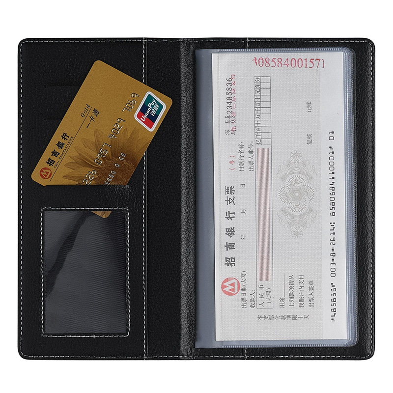 得力支票夹财务用 5799支票本财务票据夹商务皮面支票簿收纳包