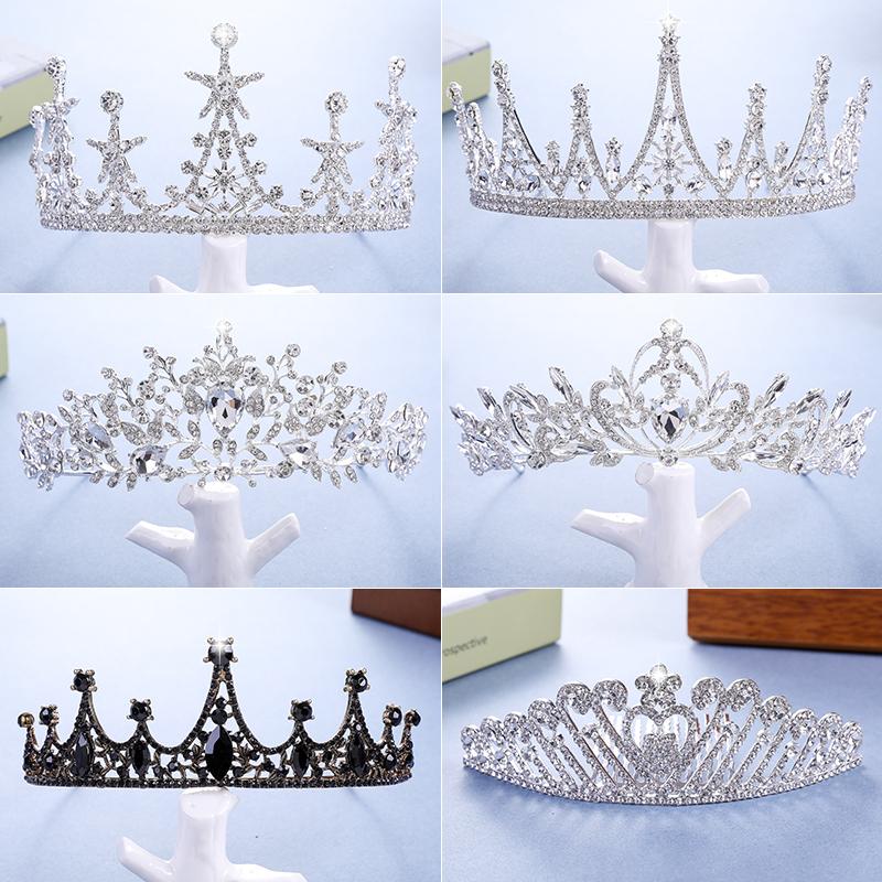 Crown headdress adult bride wedding crown new Korean wedding dress Princess Birthday gift net red hair hoop atmosphere