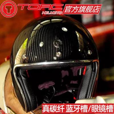 TORC carbon fiber retro helmet men and women winter motorcycle Harley half helmet oversize motorcycle helmet four seasons