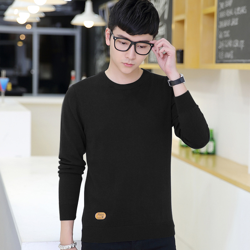 Fashion brand hot autumn new mens casual sweater youth T-neck sweater mens pure cotton sweater fashion sweater